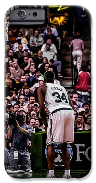 Paul Pierce iPhone Cases - Pierce at the Line iPhone Case by Jerry Coli