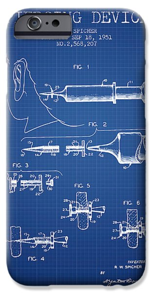 Surgical iPhone Cases - Piercing Device Patent From 1951 - Blueprint iPhone Case by Aged Pixel