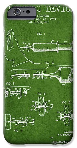 Surgical iPhone Cases - Piercing Device Patent From 1951 - Green iPhone Case by Aged Pixel