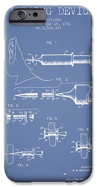 Surgical iPhone Cases - Piercing Device Patent From 1951 - Light Blue iPhone Case by Aged Pixel
