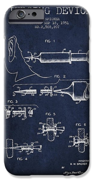 Surgical iPhone Cases - Piercing Device Patent From 1951 - Navy Blue iPhone Case by Aged Pixel