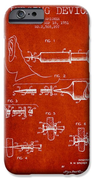 Surgical iPhone Cases - Piercing Device Patent From 1951 - red iPhone Case by Aged Pixel