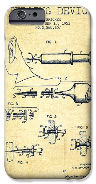 Surgical iPhone Cases - Piercing Device Patent From 1951 - Vintage iPhone Case by Aged Pixel