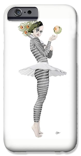 Ballet Drawings iPhone Cases - Pierrette clown  iPhone Case by Joaquin Abella