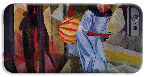 Lute iPhone Cases - Pierrot, 1913 Oil On Canvas iPhone Case by August Macke