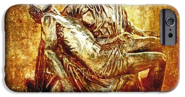 Mother Mary Digital Art iPhone Cases - Pieta Via Dolorosa 13 iPhone Case by Lianne Schneider