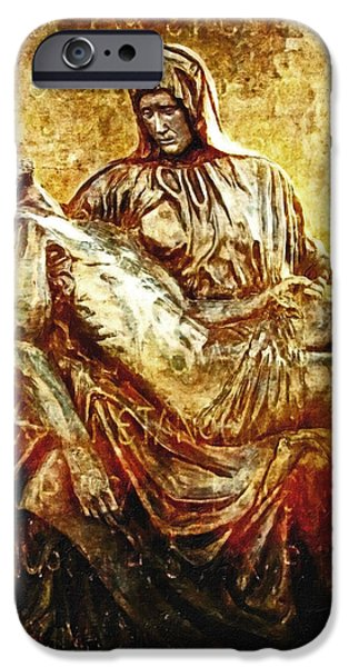 Pieta Via Dolorosa 13 iPhone Case by Lianne Schneider