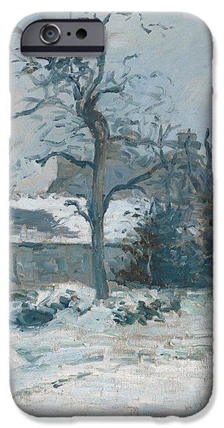 Piettes House at Montfoucault iPhone Case by Camille Pissarro