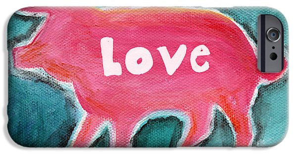 Abstracted iPhone Cases - Pig Love iPhone Case by Linda Woods