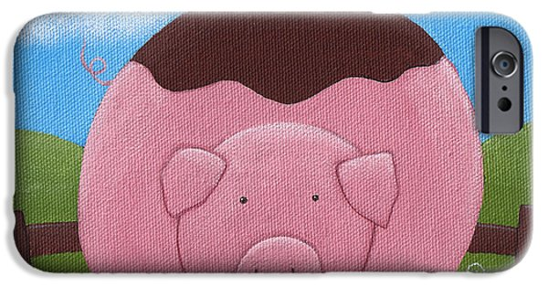 Pigs iPhone Cases - Pig Nursery Art iPhone Case by Christy Beckwith