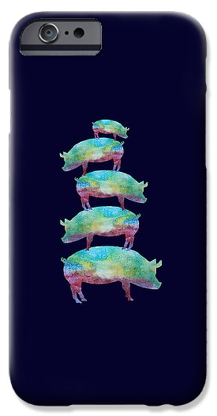 Pigs iPhone Cases - Pig Stack iPhone Case by Jenny Armitage
