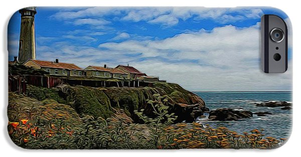 United States iPhone Cases - Pigeon Point Lighthouse Painted iPhone Case by Judy Vincent