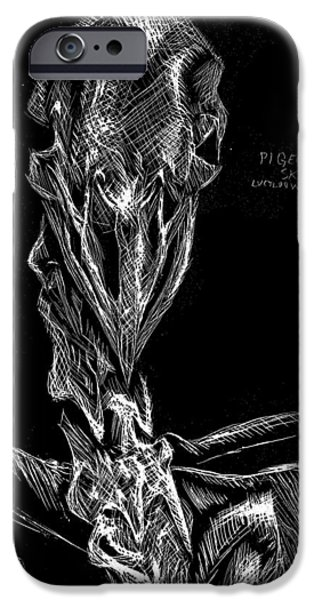 Skeleton Drawings iPhone Cases - Pigeon Skeleton iPhone Case by Lucy Loo Wales