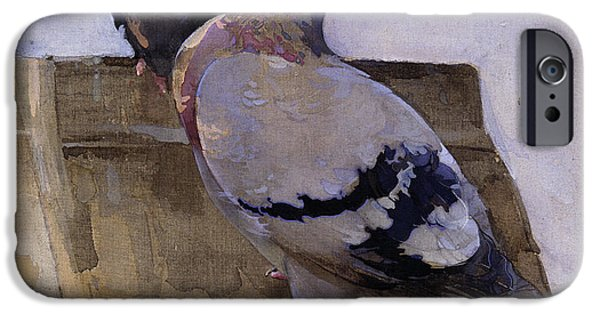 Rooftop iPhone Cases - Pigeons on the Roof iPhone Case by Joseph Crawhall