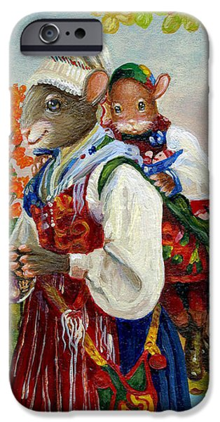 Young Paintings iPhone Cases - Piggy Back Ride iPhone Case by Jacquelin Vanderwood