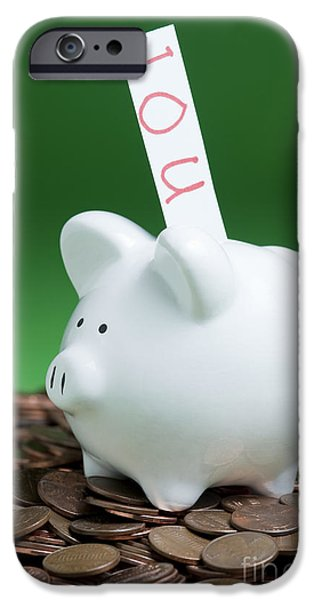Rainy Day iPhone Cases - Piggy Bank On A Pile Of Pennies iPhone Case by Jim Corwin