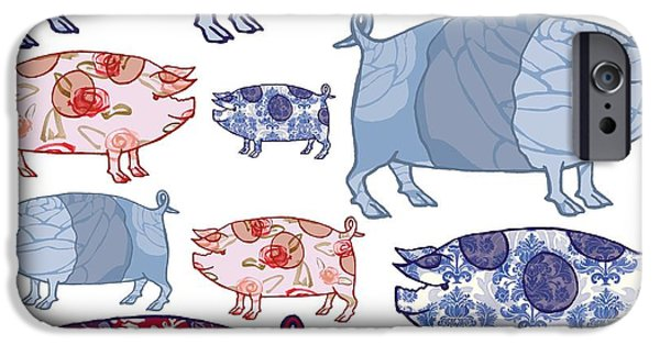 Piglets iPhone Cases - Piggy in the Middle iPhone Case by Sarah Hough