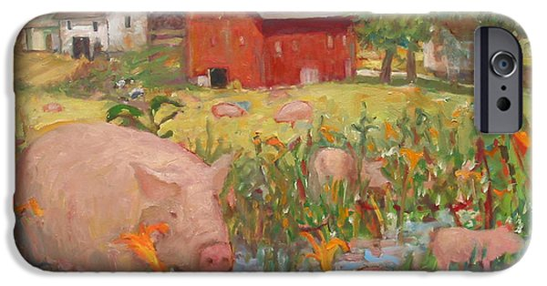Piglets Paintings iPhone Cases - Pigs and Lilies iPhone Case by Paul Emory