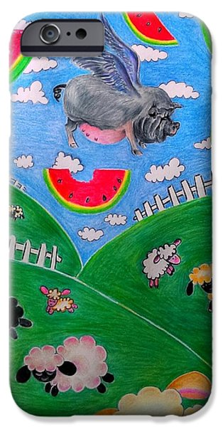 Watermelon Drawings iPhone Cases - Pigs cant Fly iPhone Case by Denisse Del Mar Guevara