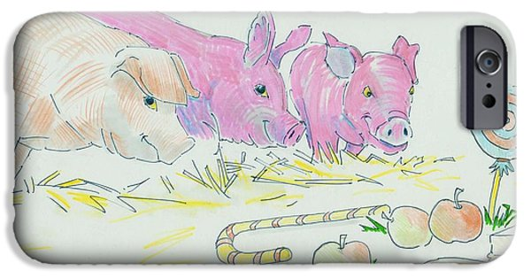 Chip Drawings iPhone Cases - Pigs Cartoon iPhone Case by Mike Jory