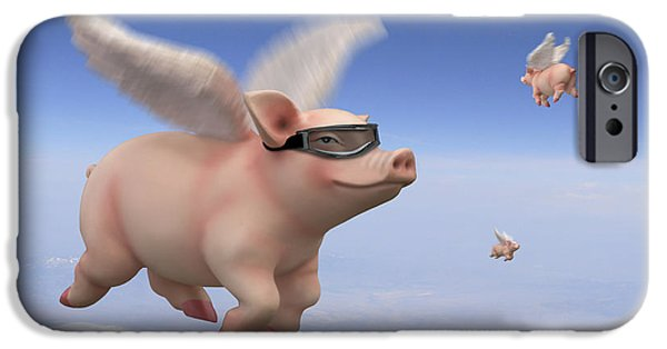 Pigs iPhone Cases - Pigs Fly 1 iPhone Case by Mike McGlothlen