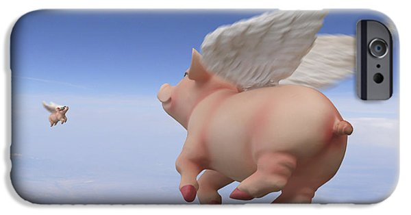Pigs iPhone Cases - Pigs Fly 2 iPhone Case by Mike McGlothlen