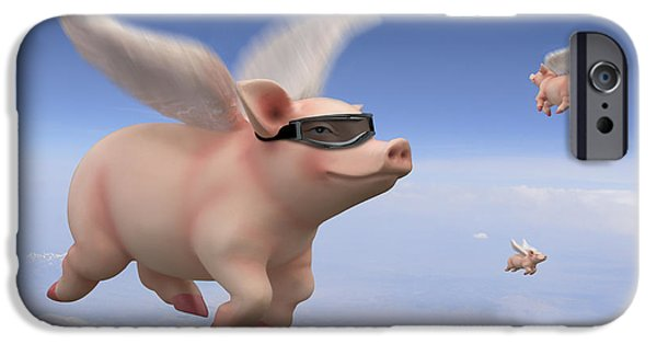 Pigs iPhone Cases - Pigs Fly iPhone Case by Mike McGlothlen