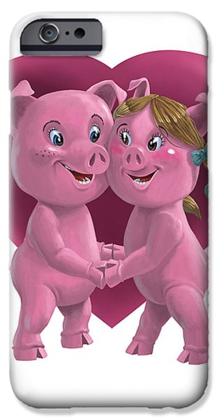 Pig Digital iPhone Cases - Pigs In Love iPhone Case by Martin Davey