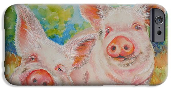 Summer Celeste iPhone Cases - Pigs Pink and Happy iPhone Case by Summer Celeste