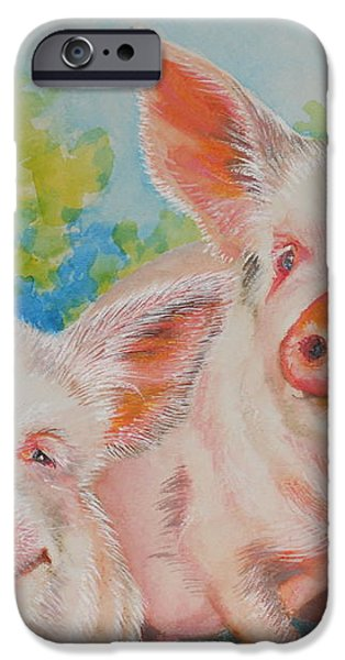 Pigs Pink and Happy iPhone Case by Summer Celeste