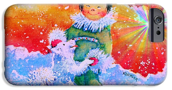 Huskies iPhone Cases - Pigtails And Wagging Tail iPhone Case by Hanne Lore Koehler