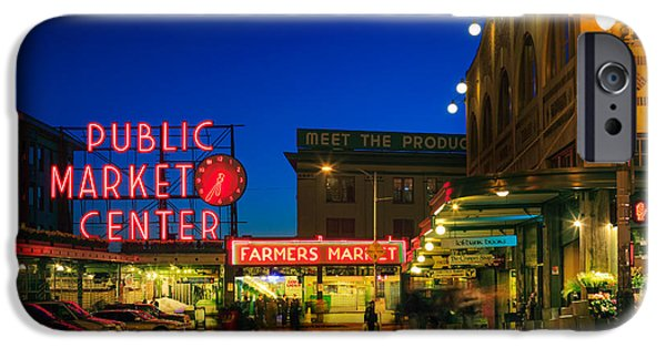 Evening iPhone Cases - Pike Place Market iPhone Case by Inge Johnsson