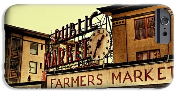 David Patterson iPhone Cases - Pike Place Market - Seattle Washington iPhone Case by David Patterson