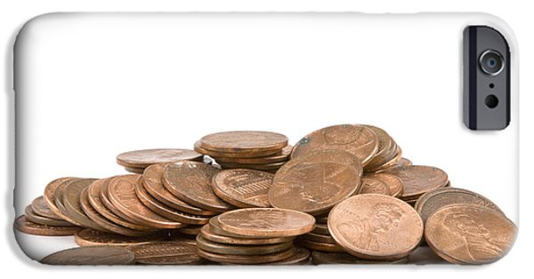 Business Digital Art iPhone Cases - Pile of American Pennies On White Background iPhone Case by Keith Webber Jr