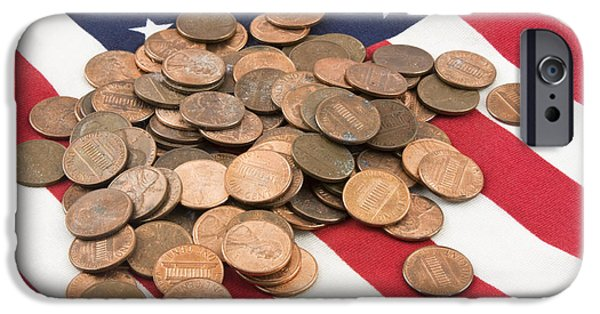 American Flag iPhone Cases - Pile of Pennies On American Flag iPhone Case by Keith Webber Jr