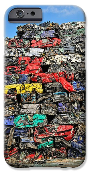 Junk Yard iPhone Cases - Pile of scrap cars on a wrecking yard iPhone Case by Matthias Hauser