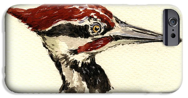 Nature Study Paintings iPhone Cases - Pileated woodpecker head study iPhone Case by Juan  Bosco