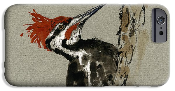 Original Watercolor iPhone Cases - Pileated Woodpecker iPhone Case by Juan  Bosco