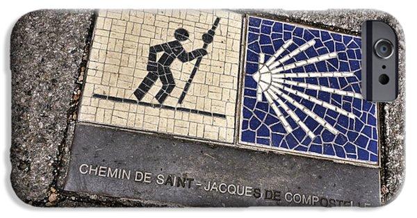 Pilgrims iPhone Cases - Pilgrimage Route Marker iPhone Case by Olivier Le Queinec