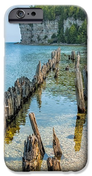Lakescape iPhone Cases - Pilings on Lake Michigan iPhone Case by Paul Freidlund