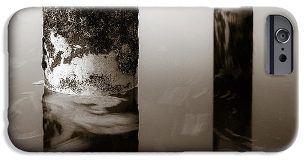 Abstract Seascape Photographs iPhone Cases - Pillars and Swirls iPhone Case by Dave Bowman