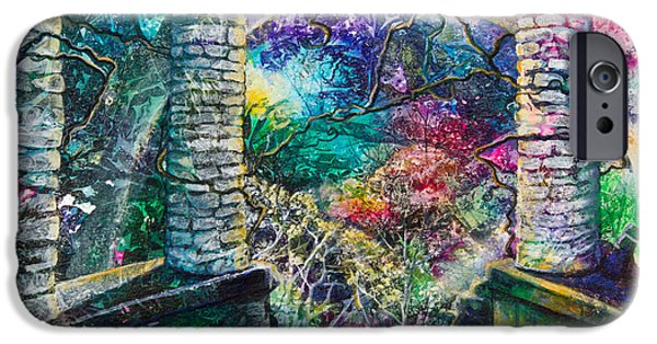 Flora Mixed Media iPhone Cases - Pillars at the Edge of the World iPhone Case by Patricia Allingham Carlson