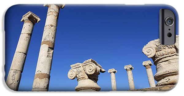 Leptis Magna iPhone Cases - Pillars at the Old Forum at Leptis Magna in Libya iPhone Case by Robert Preston