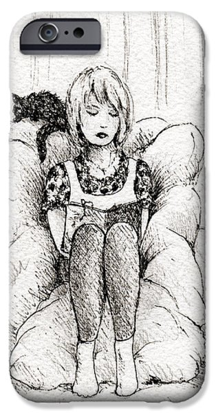 Furniture Drawings iPhone Cases - Pillow Book iPhone Case by Rachel Christine Nowicki
