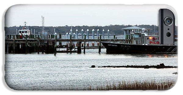 Boats At The Dock iPhone Cases - Pilot at the Dock iPhone Case by John Rizzuto