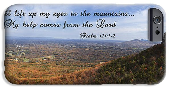 Mt Airy North Carolina iPhone Cases - Pilot Mountain Panorama with Scripture iPhone Case by Jill Lang