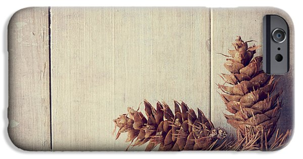 Ornament Pyrography iPhone Cases - Pine cones iPhone Case by Jelena Jovanovic