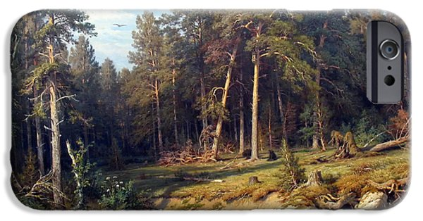 Concept Paintings iPhone Cases - Pine Forest iPhone Case by Shishkin