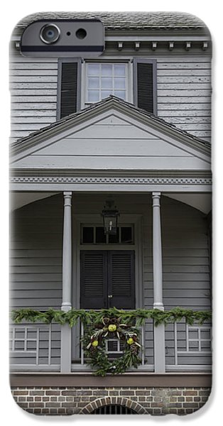 Historic Triangle iPhone Cases - Pine Swag Decorated Porch Colonial Williamsburg iPhone Case by Teresa Mucha