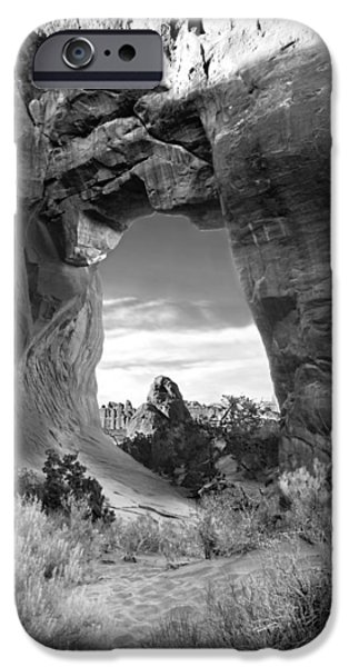 Red Rock iPhone Cases - Pine Tree Arch - Utah iPhone Case by Mike McGlothlen
